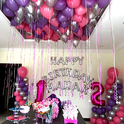 Balloons & Floral Birthday Surprise: Anniversary Gifts to Sharjah