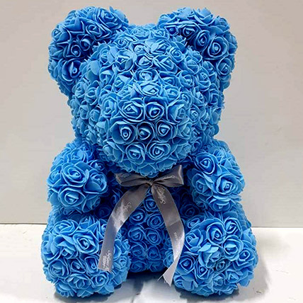 Artificial Blue Roses Teddy: Rose Day Gifts