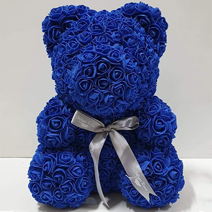 Artificial Dark Blue Roses Teddy: Birthday Gifts for Boyfriend