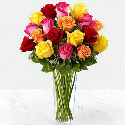 Vase Of Vivid Roses: Thank You Flowers