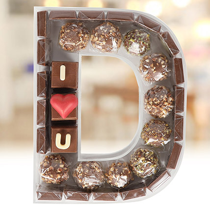 The Letter Collection Chocolates I Love You D:  Personalised Chocolates