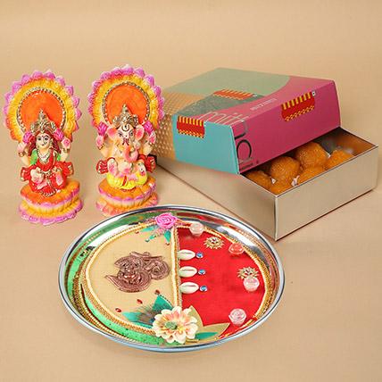 Motichoor Laddoo & Pooja Thali Combo: Diwali Gifts 2020