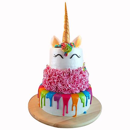 Happy Unicorn 3 Layered Cake: Baby Shower Cakes