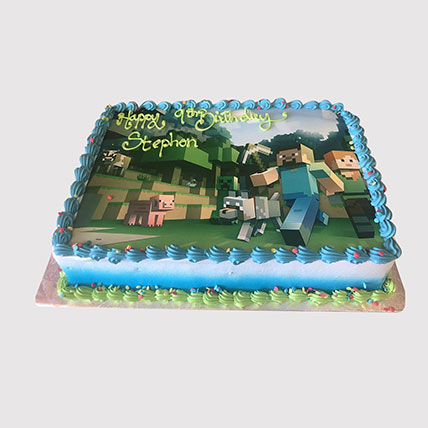 Minecraft Game Photo Cake: Minecraft Cake