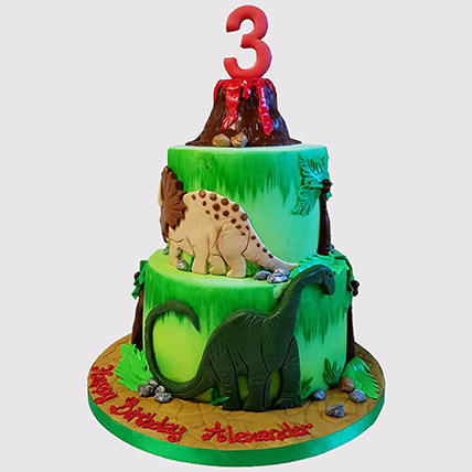 Volcano Jungle Cake: Dinosaur Cake