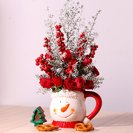 Ceramic Mug Flower Arrangement: Send Christmas Flowers to Dubai