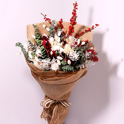 Mixed Flowers Jute Wrapped:  Christmas Flowers to Abu Dhabi