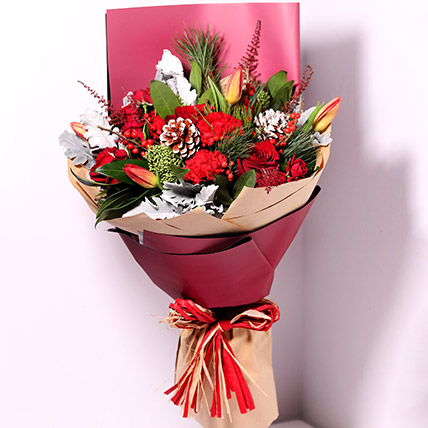Tulips And Carnations Graceful Bouquet: New Year Flowers