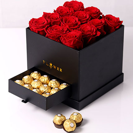 Forever Red Roses With Rochers In Box: Flower Delivery for Girlfriend