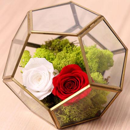 Red and White Roses In Designer Base: Forever Rose Dubai