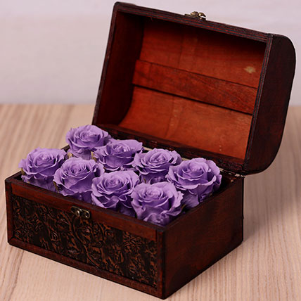 8 Purple Forever Roses in Treasure Box: Flower Box Dubai