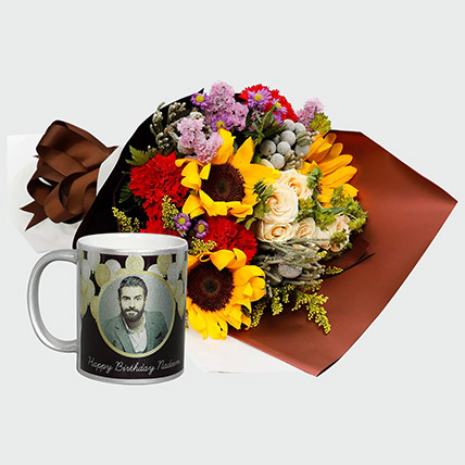 Flower Bouquet and Personalised Mug:
