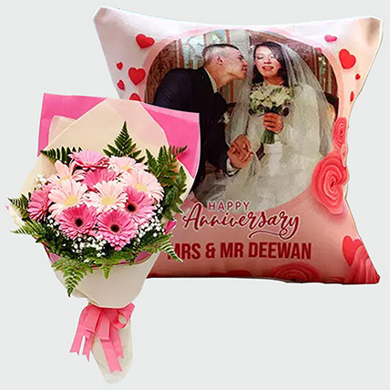 Gerberas Bouquet and Personalised Cushion: Flowers N Personalised Gifts