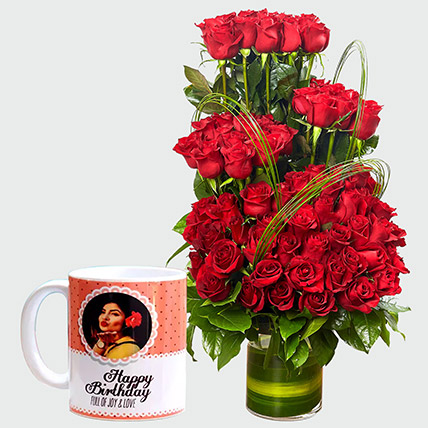 Red Roses Arrangement and Personalised Mug: Personalised Gifts for Girlfriend