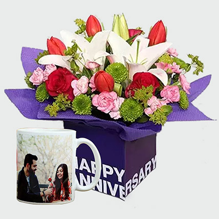 Adorable Flowers and Personalised Mug: Marriage Anniversary Gifts for Wife