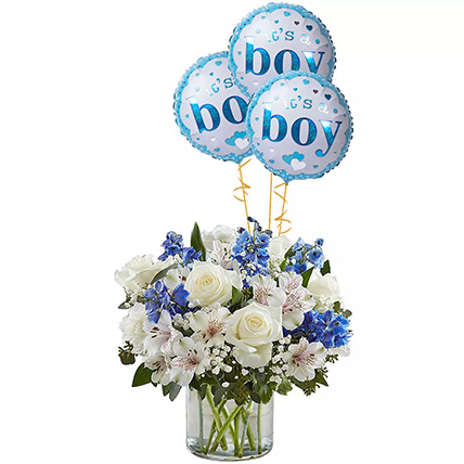 Blue and White Flower Arrangement With Balloons: Newborn Baby Gift Ideas
