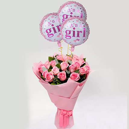 Pink Roses Bouquet with Balloons: Newborn Baby Gifts