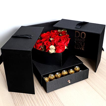 Luxurious Roses and Chocolate Box: Valentine Gift Hampers for Him
