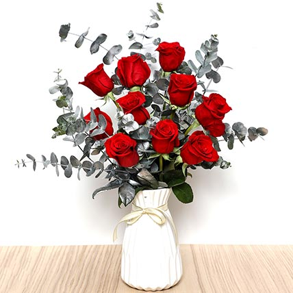 Ravishing Red Roses In Ceramic Pot: Valentines Day Flowers to Sharjah