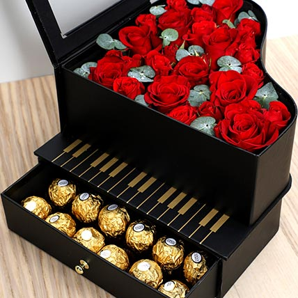 Roses and Chocolates Black Heart Box: Valentine Gift Hampers for Wife