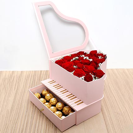 Roses and Chocolates Pink Heart Box: Valentine Gift Hampers to Dubai