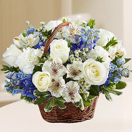Basket Of Exquisite Flowers: Birthday Basket Arrangements