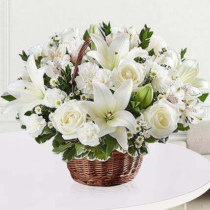 Elegant White Floral Basket: Basket Arrangements