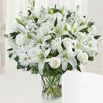 Fresh White Flowers Vase: Sympathy & Funeral Flowers