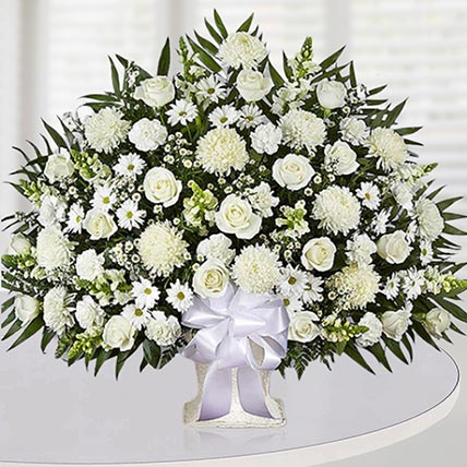 Luxurious White Flower Arrangement: Sympathy & Funeral Flowers