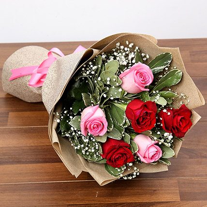 Pink and Red Roses Bouquet: Valentines Bouquets