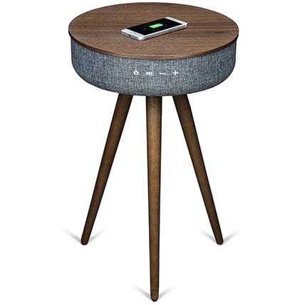 Walnut Wood Table with Bluetooth Speaker & Wireless Charger: Unique Gifts