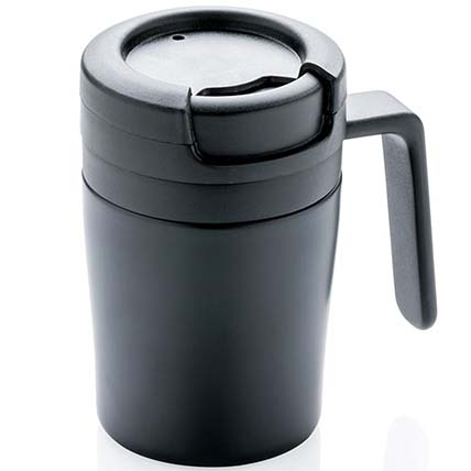 Double Wall Coffee Mug With Spill Proof Lid: Travel Accessories