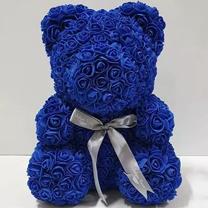 Blue Artificial Roses Teddy Bear: Valentines Day Gifts For Husband