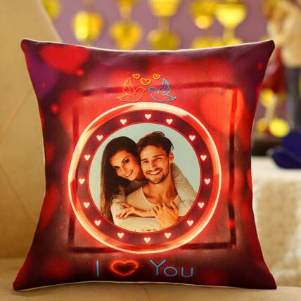 Lovey Dovey Personalised LED Cushion: Valentines Day Personalised Gifts