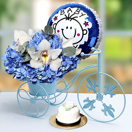 Baby Boy Flower Arrangement and Cake: Gifts for Librans