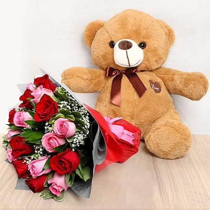 Pink and Red Roses Bouquet with Brown Teddy Bear: Valentine Gift Hampers for Wife