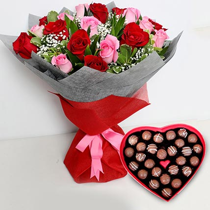 Pink and Red Roses Bouquet with Heartshaped Chocolates: Valentine Gift Hampers to Ajman