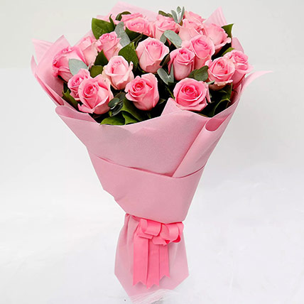 Ravishing Bouquet of 20 Pink Roses: Valentines Day Flowers for Boyfriend