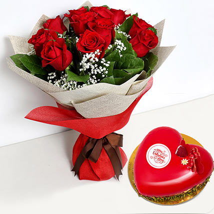 12 Red Roses Bouquet with Heartshape Cake: Valentines Flowers