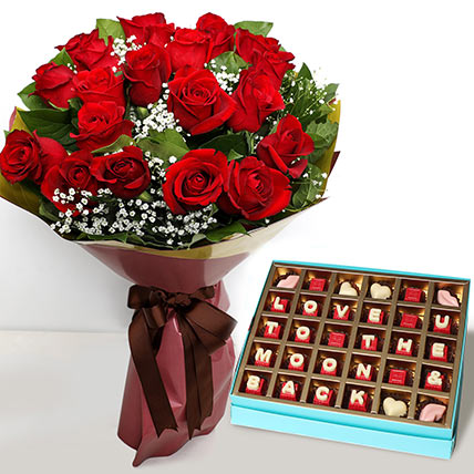 20 Red Roses Bouquet with Valentines Chocolates: Valentines Day Gifts For Her