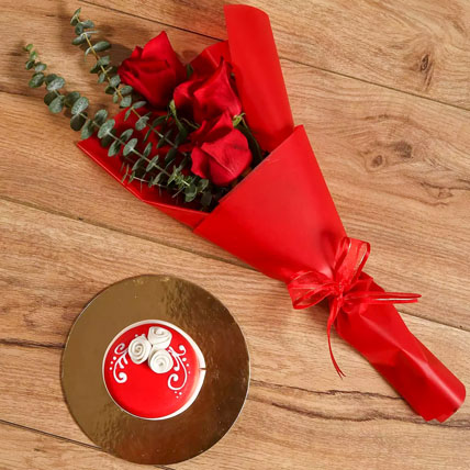 Red Roses Bouquet and Mono Cake Combo: Christmas Gifts for Kids