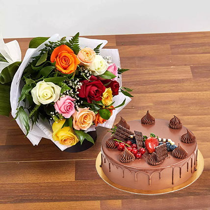 Dozen Multi Roses with Fudge Cake: Cake and Flowers