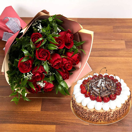 Dozen Roses with Blackforest Cake: Flowers with Cakes in Sharjah