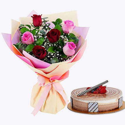 Gorgeous Roses Bouquet With Triple Chocolate Cake: Gifts for Parents