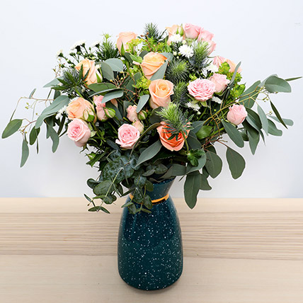 Pastel Coloured  Roses Vase: Order Flowers