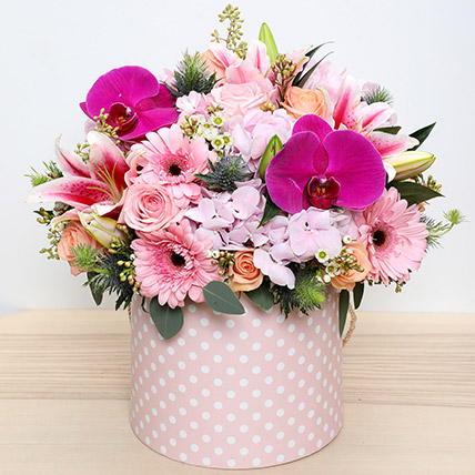 Pink and Peach Mixed Flowers Arrangement: Flower Box Dubai
