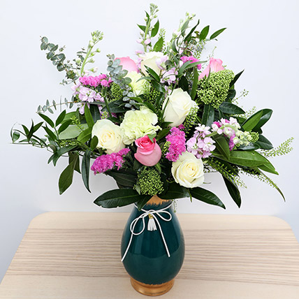 Roses N Carnations in Glass Vase: Mothers Day Flowers
