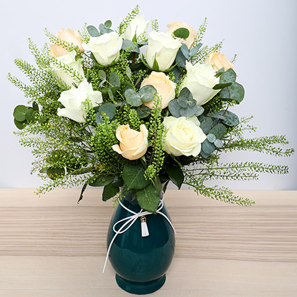 White N Peach Roses in Glass Vase: Womens Day Flowers to Ajman