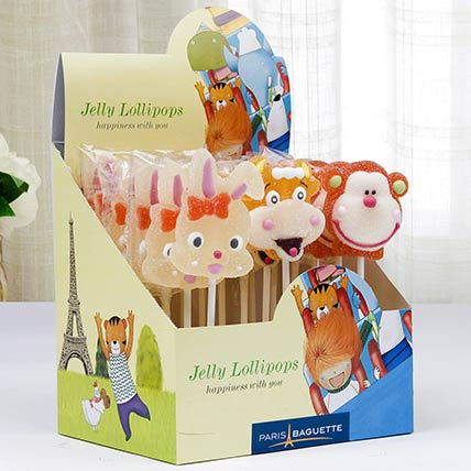 Cartoon Shaped Jelly Lollipops 18 Pcs: Candies