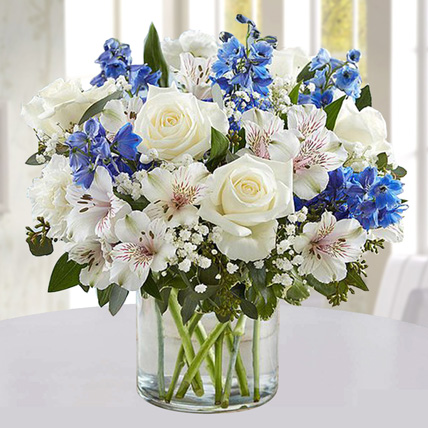 Blue and White Floral Bunch In Glass Vase: Fathers Day Flowers to Umm Al Quwain